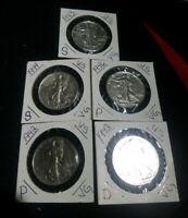 Lot of 5 Walking Liberty Silver Half Dollars 90% Silver