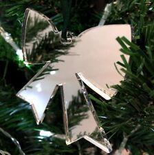 ARGENTO SPECCHIO FIOCCO forma Decorazioni Albero Di Natale & raso verde nastro,