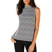 MICHAEL KORS NEW Women's Plaid Split Hem Mock Neck Blouse Shirt Top TEDO