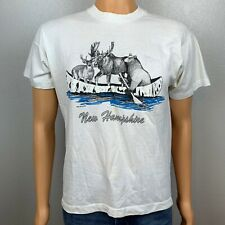Vintage New Hampshire  Moose Bear Deer Outdoors L Single Stitch Men's T Shirt