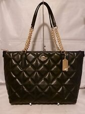 NWT COACH QUILTED BLACK LEATHER AVA CHAIN TOTE HANDBAG 36661