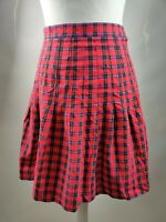 Vintage Women's Skirt Aline Pleated Red Tartan Check Print Short Cotton W26 UK 8