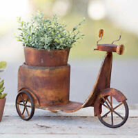 Scooter Outdoor Planter in Rusty Tin