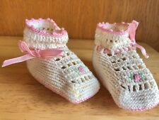 Handmade Crochet Baby Booties / Doll Shoes Vintage 1950s Pink Baby Girl