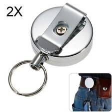 2X Recoil Extendable Metal Wire 65cm Key Chain Ring Clip Pull Keyring Retracting