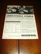 1962 HONDA GRAND PRIX RACE BIKE - CAFE RACER  ***ORIGINAL VINTAGE AD***
