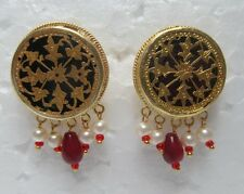 Vintage Indian Theva Thewa Work Gold Silver Amulet Erring Pair Tribal Jewelry 14