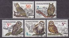CZECHOSLOVAKIA 1986 USED SC#2620/24 Owls