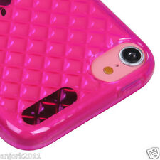 Apple iPod Touch 5 Candy Skin Tpu Gel Cover Case Accessory Diamond Hot Pink