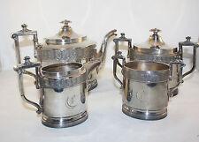 ANTIQUE REED AND BARTON 4 PCS TEA SET, TEAPOT, WASTE, SUGAR BOWL, SILVER PLATE