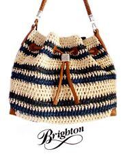 Brighton Natural and Navy Striped Crochet Straw Shoulder Handbag