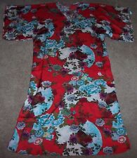 NWT N Natori Red BLOSSOMING FANS Floral Charmeuse Satin Caftan M Pockets Blue