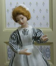 Debra Hammond Maid Doll in Striped Uniform - Artisan Dollhouse Miniature
