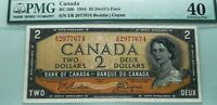 WORLD FAMOUS DEVILS FACE BANKNOTE; CANADA 1954 $2  PMG 40 .SCARCER I/B PREFIX