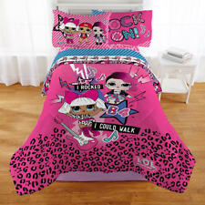 LOL Surprise Reversible Girls Twin Comforter, Sheets 4 Piece Bed in A Bag
