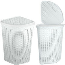 Large Woven Plastic Corner Laundry Bin Washing Multi Storage Basket White 52L