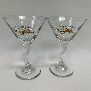 Rehab for the Skin Hair-a-holics Wine Glasses Clear Crooked Stem Lot of 2