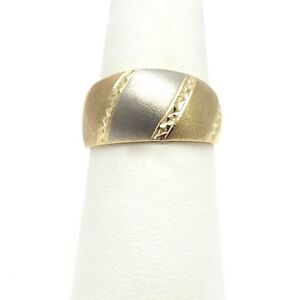 NEW 14k Tricolor Yellow White Rose Gold 10mm Tapered Wedding Band Ring Sz 7