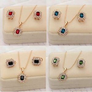 Women Jewelry Gold Rhinestone Necklace Earrings Set Party Wedding Gift