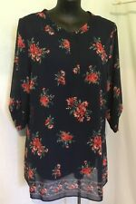 AUTOGRAPH NAVY BLUE FLORAL 3/4 SLEEVE SHIRT TOP & CAMI SZ 20-NEW STOCK JUST IN