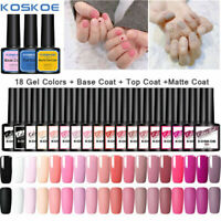 KOSKOE 21PCS Gel Nail Polish Set Soak Off UV LED Varnish No Wipe Base Top Coat