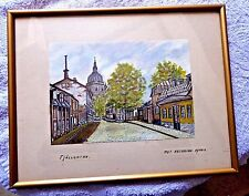 VINTAGE ORIGINAL WATER COLOR PAINTING STOCKHOLM KATARINA CHURCH FJALLGATAN SWEDE