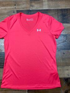 Under Armour Womens Coral Short Sleeve V-Neck Loose Tshirt Tee Shirt Top Medium