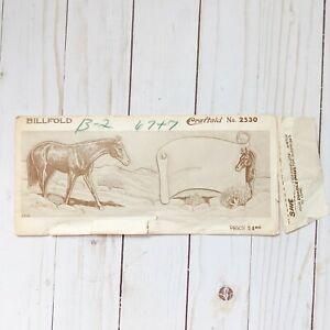 Antique 1950s Craftaid Leatherwork Pattern Billfold Horses 2530