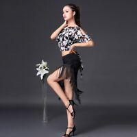 Ladies Latin Dance Skirts Tango Salsa Rumba Ballroom Tassels Practice Dancewear