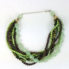 """Stone Bead Multi Strand Twist Necklace Sea Green Lime Yellow Brown Beads 16"""""""