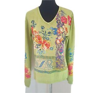 ÊTRE Women XL knit jumper green floral beaded lightweight Queensland Designed