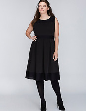 New LANE BRYANT $100 Black Illusion Scuba Dress Plus Size 20W 2X f/s