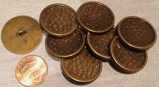 """8 Large Flat Top Antiqued Brass Tone Metal Shank Buttons 1"""" 25mm # 7478"""
