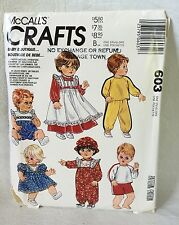 McCall's Crafts 603 Baby Doll Clothes 13 inches - 18 inches