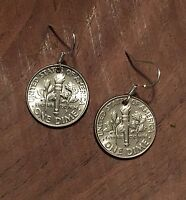 Dime Coin Jewelry Charm Earrings on .925 Hooks 10 cents USA