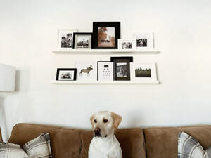 White Wooden Photo Wall Shelves Hanging Floating Home Display Ledge Units Decor