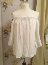 NEW - ATMOSPHERE WHITE & GREY STRIPED OFF SHOULDER BARDOT STYLE TOP –UK 10