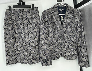 Ann Taylor Skirt Suit Size 2, Jacket Size 4 NWT $98 Floral Navy Blue