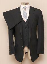 Vintage Mens 40L Redwood & Ross 3 Piece Charcoal Pinstripe Suit