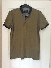 BURTON MEN'S NAVY & MUSTARD YELLOW PRINT SHORT SLEEVED TOP SIZE L