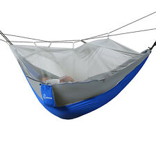 Wolfwise Outdoor Camping Travel Mosquito Net Hammock Swing Bed 2 People Blue