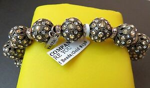 """F.A.I.T.H Crystal Encrusted Beads 7"""" Stretchy Bracelet Rose Gold & Clear Ronells"""