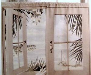 Cafe Curtains Window Art Mural ISLAND RETREAT Scene TIERS ONLY 44 x 36 NEW