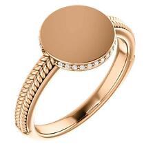14K Rose Gold Ladies Round Diamond Signet Ring