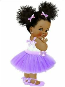 Afro baby puff baby girl decor for Cake front Edible Cake Topper Wafer or Icing