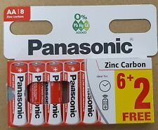 8 x AA Genuine PANASONIC Zinc Carbon Batteries New R6 1.5V Battery EXPIRY 2023