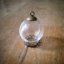 DIY Mini Clear Globe Glass Bottle Pendant Antique Bronze  Apothecary Terrarium