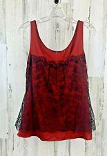 ELIE TAHARI Women's Colette Tank Top Satin Red Black Lace Size M