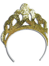 Tiara Gold Sequin Princess Crown Fancy Dress Queen Fairytale Girls Womens Kids
