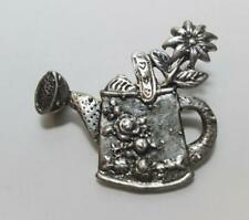 Vintage Mary Engelbreit 925 Sterling Silver Flowers Watering Can Brooch Pin 8.9g